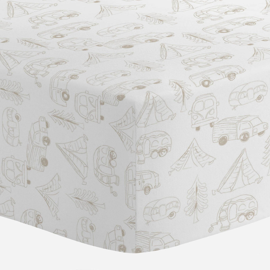 Product image for Taupe Little Campers Mini Crib Sheet