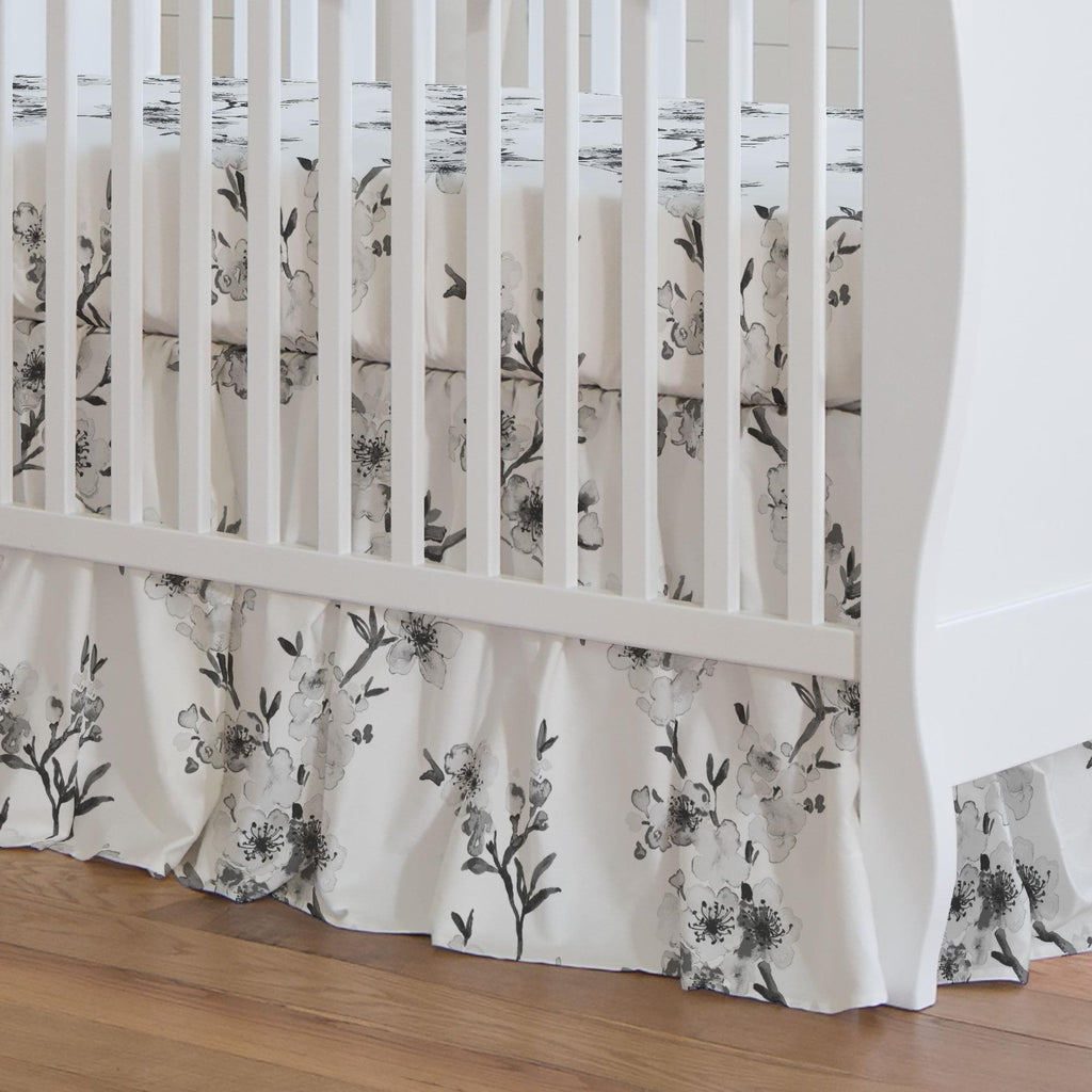 Product image for Gray Cherry Blossom Crib Skirt Gathered