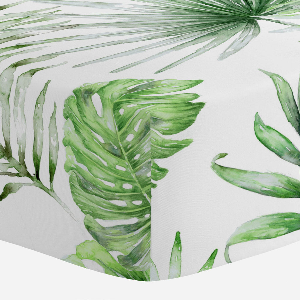 Product image for Green Painted Tropical Mini Crib Sheet
