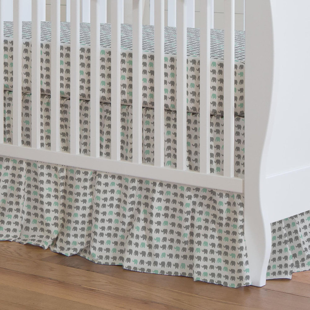 Product image for Gray and Mint Elephant Parade Crib Skirt Gathered