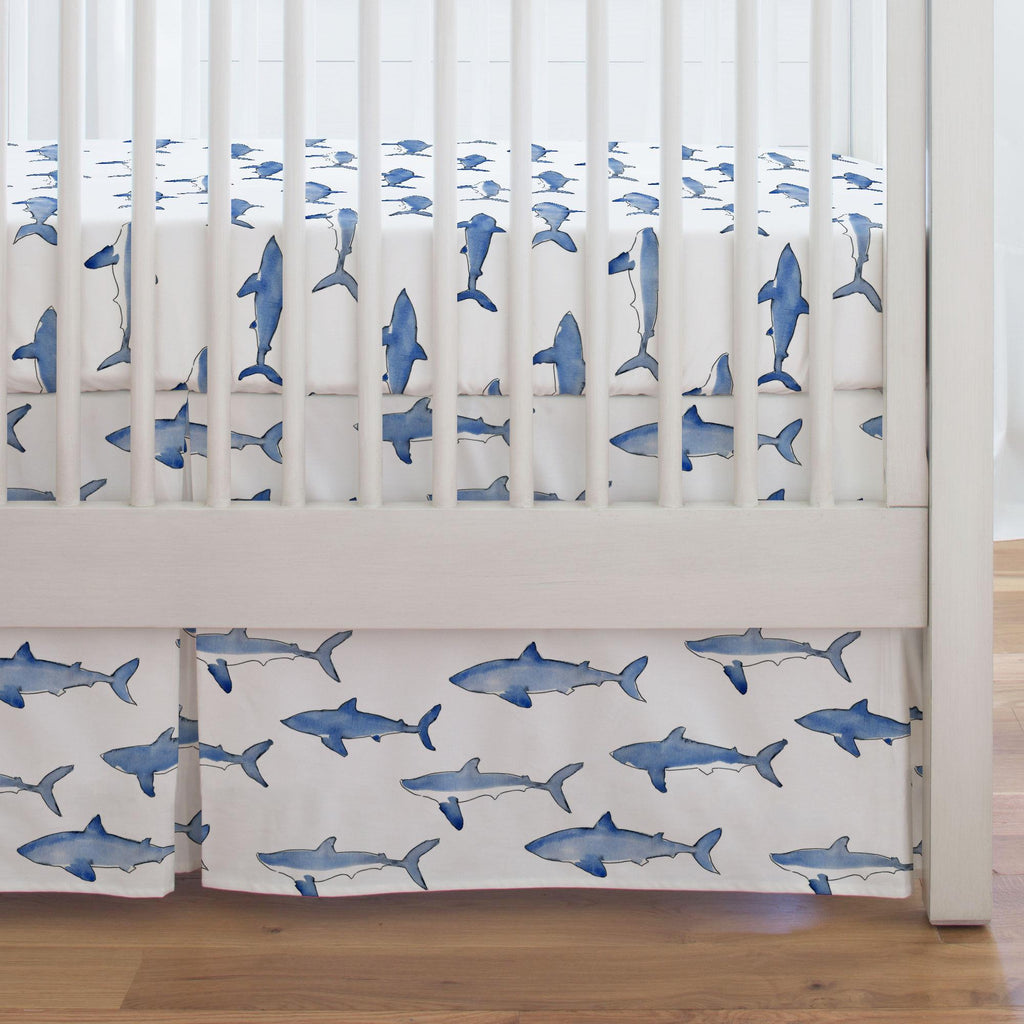Product image for Blue Sharks Crib Skirt Single-Pleat