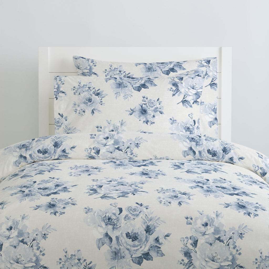 Product image for Blue Farmhouse Floral Pillow Case