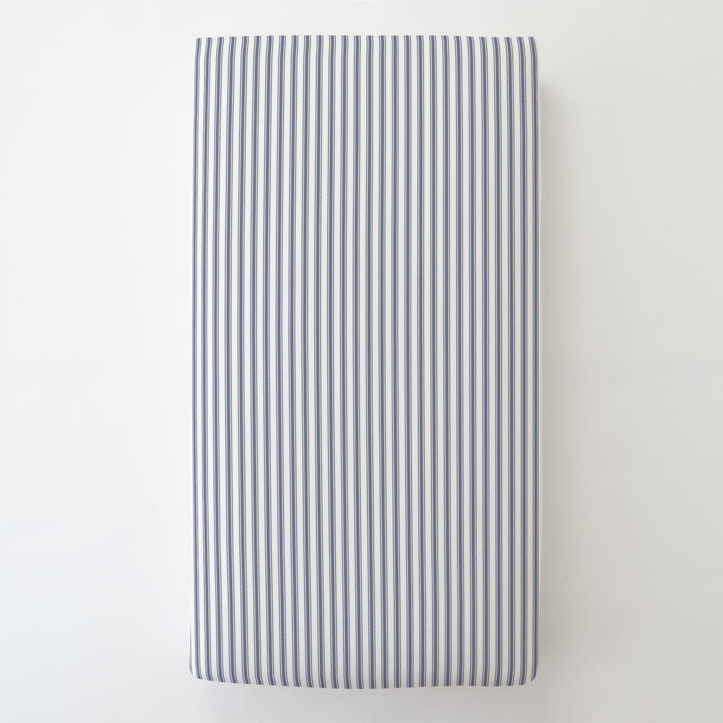 Product image for Windsor Navy Ticking Stripe Toddler Sheet Bottom Fitted