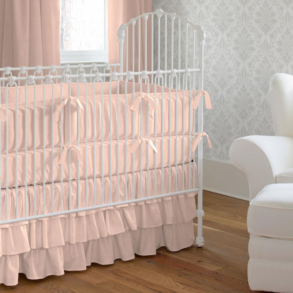 Product image for Solid Peach Crib Comforter with Piping