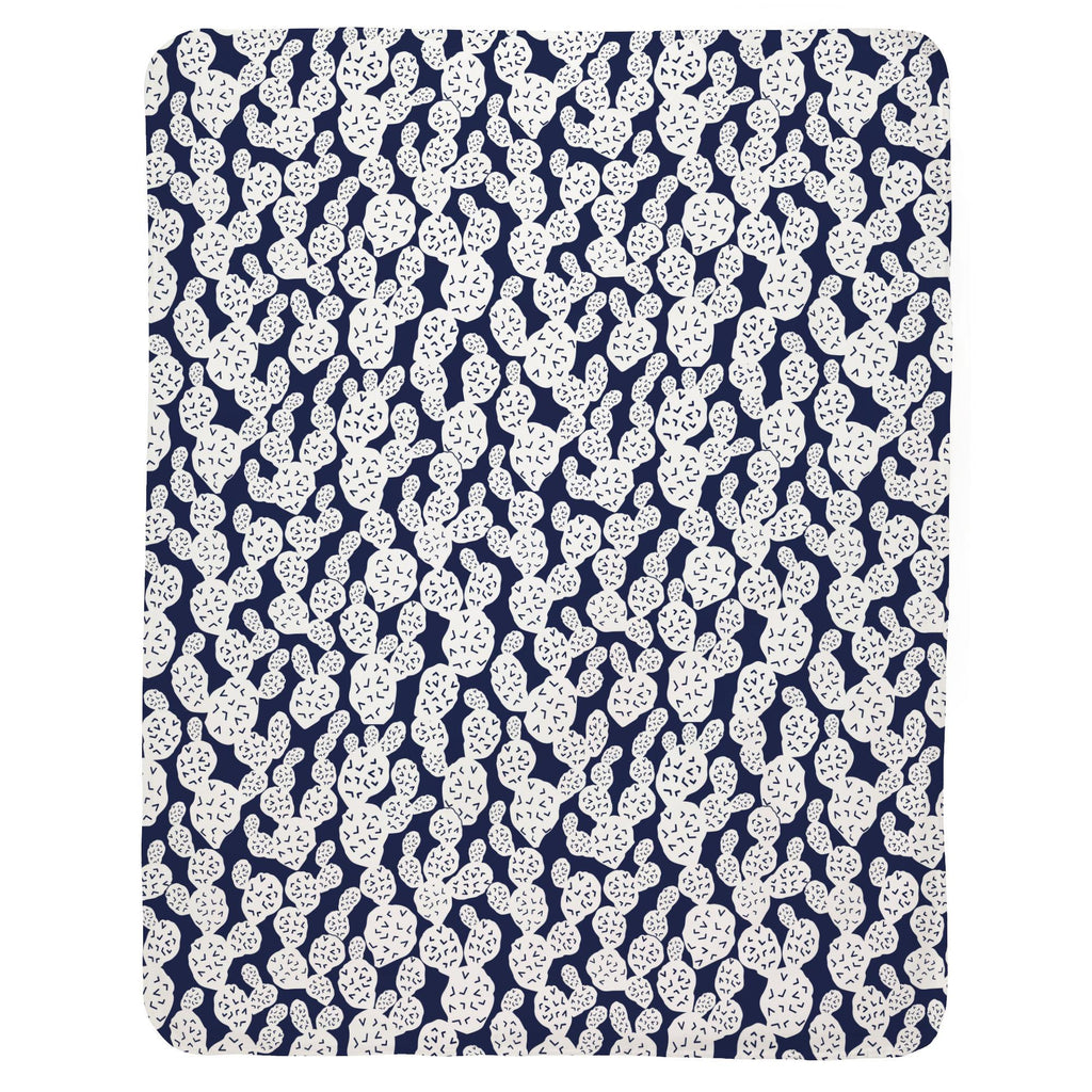 Product image for Navy Prickly Pear Baby Blanket