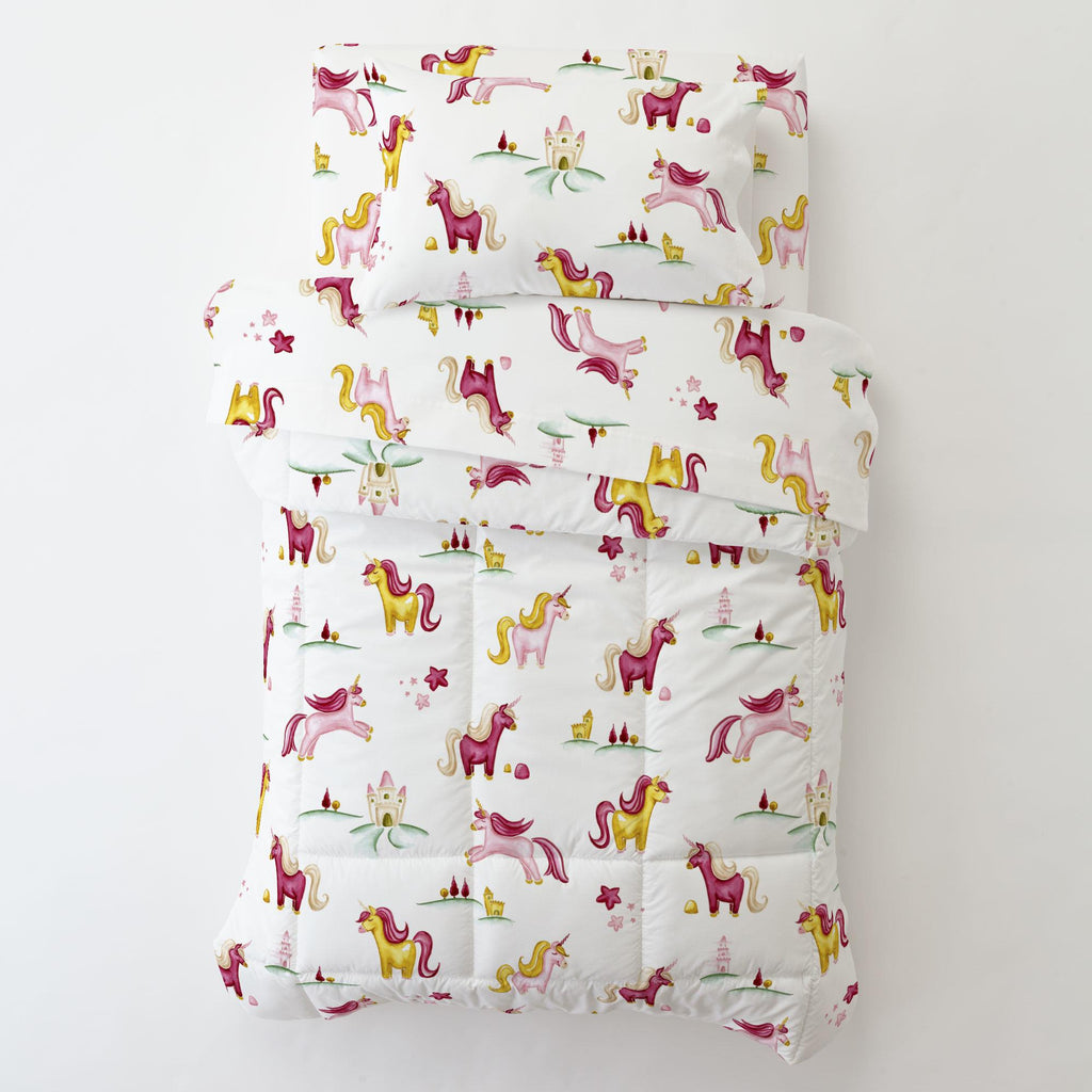 Product image for Painted Unicorns Toddler Pillow Case with Pillow Insert