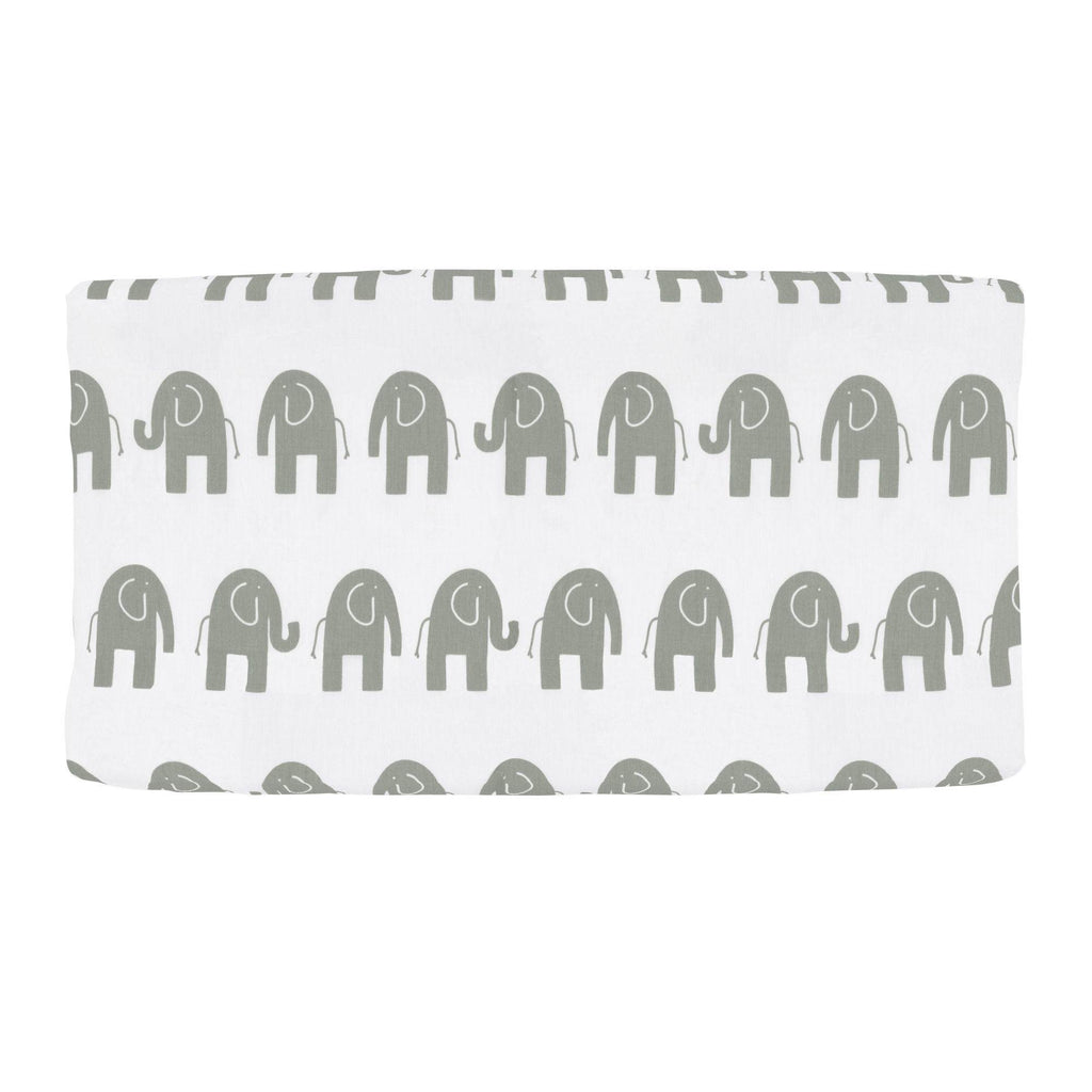 Product image for White and Gray Elephants Changing Pad Cover
