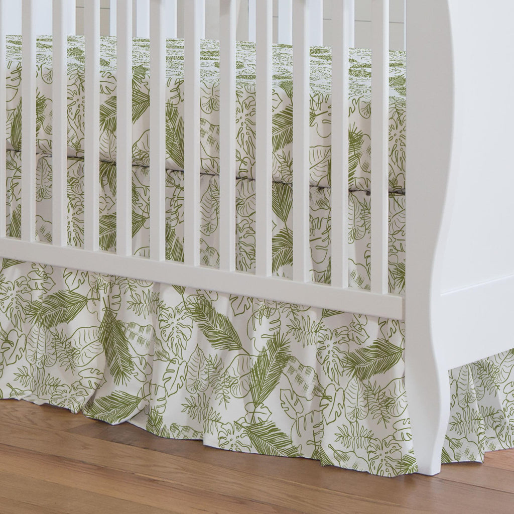 Product image for Sage Palm Leaves Crib Skirt Gathered