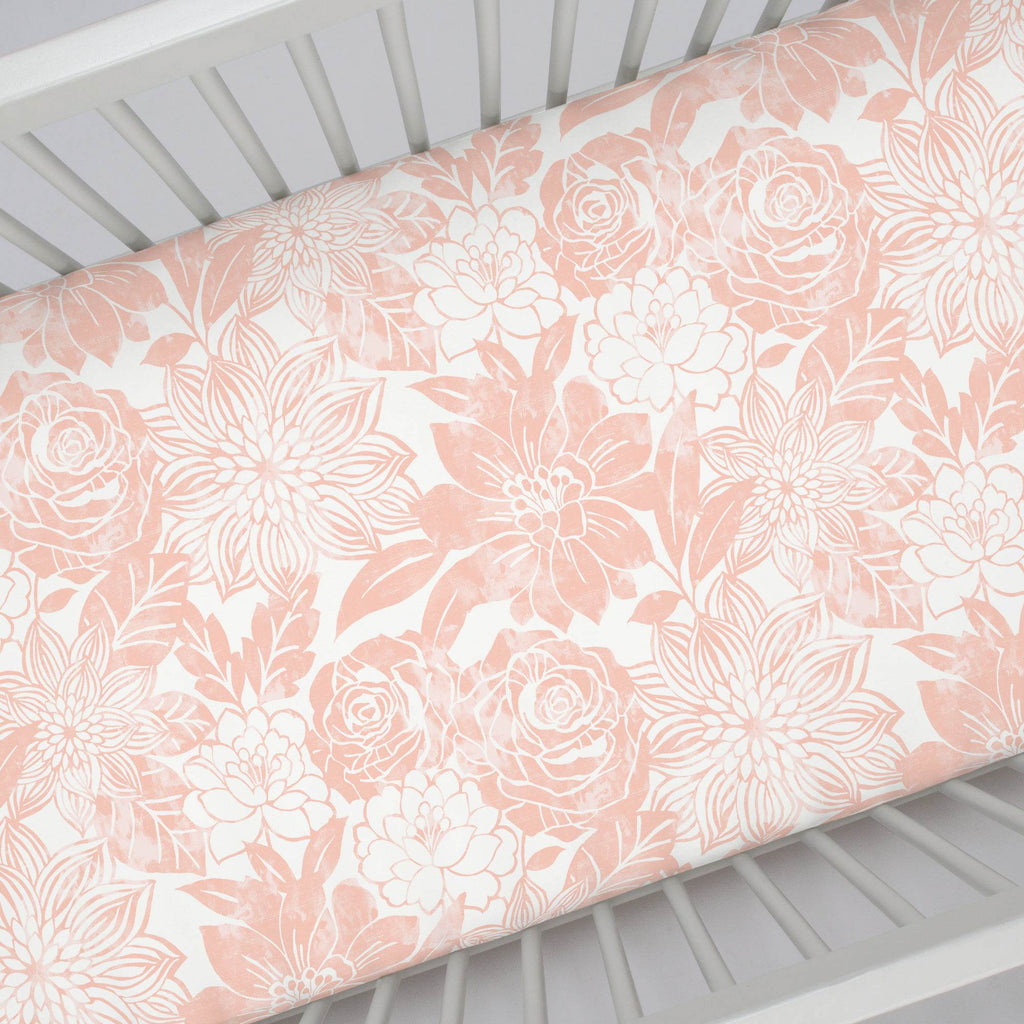 Product image for Peach Modern Blooms Crib Sheet
