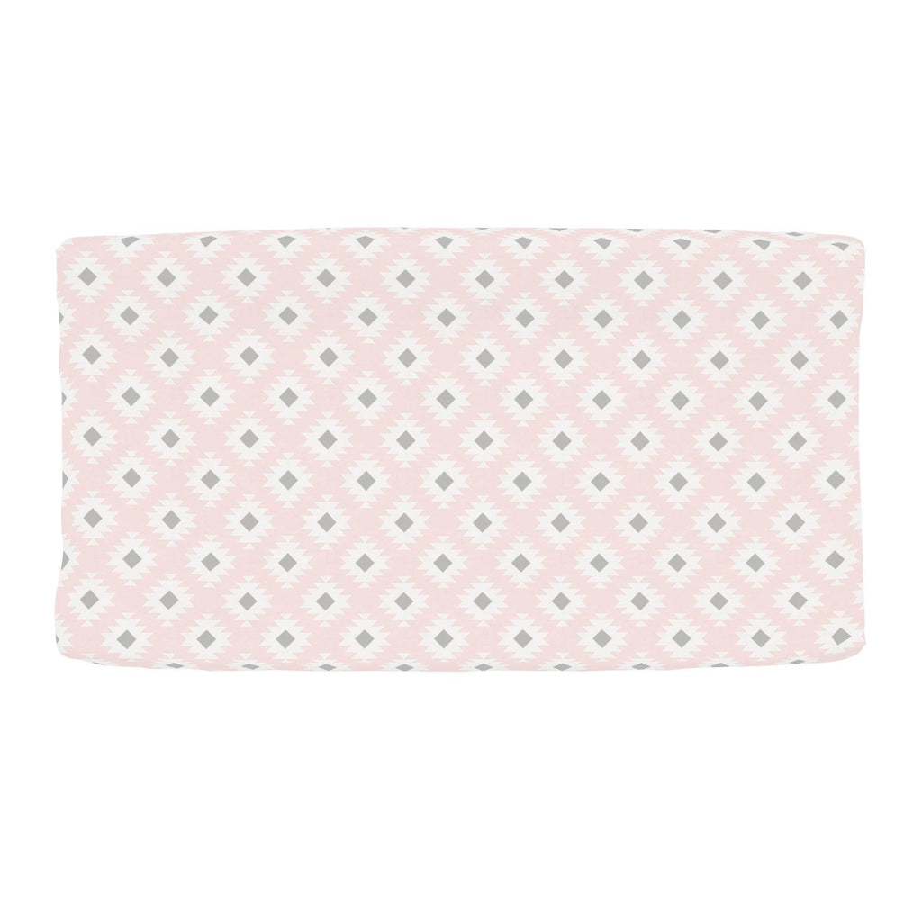 Product image for Blush Pink and Gray Aztec Changing Pad Cover
