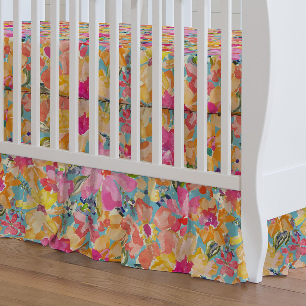 Product image for Coral Flower Bouquet Crib Skirt Gathered