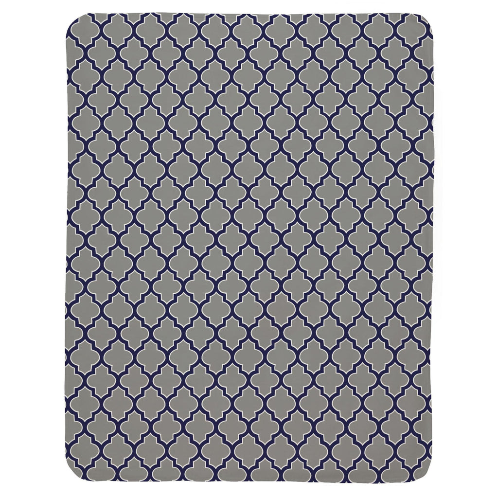 Product image for Cloud and Navy Hand Drawn Quatrefoil Baby Blanket