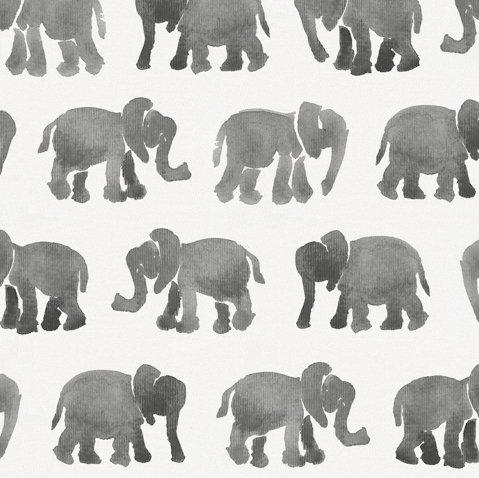 Product image for Gray Watercolor Elephants Drape Panel