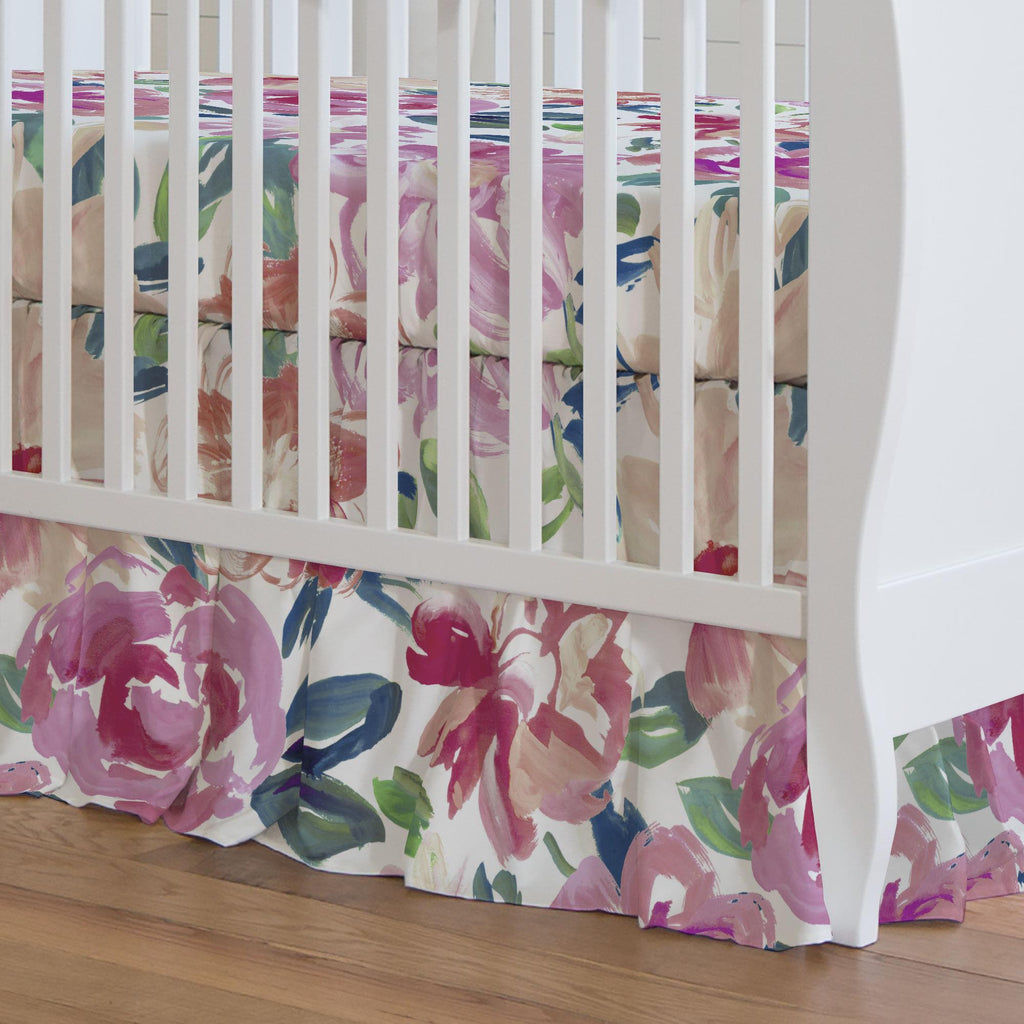 Product image for Pink Brushstroke Floral Crib Skirt Gathered