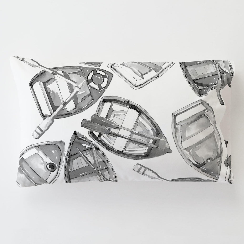 Product image for Gray Watercolor Boats Toddler Pillow Case