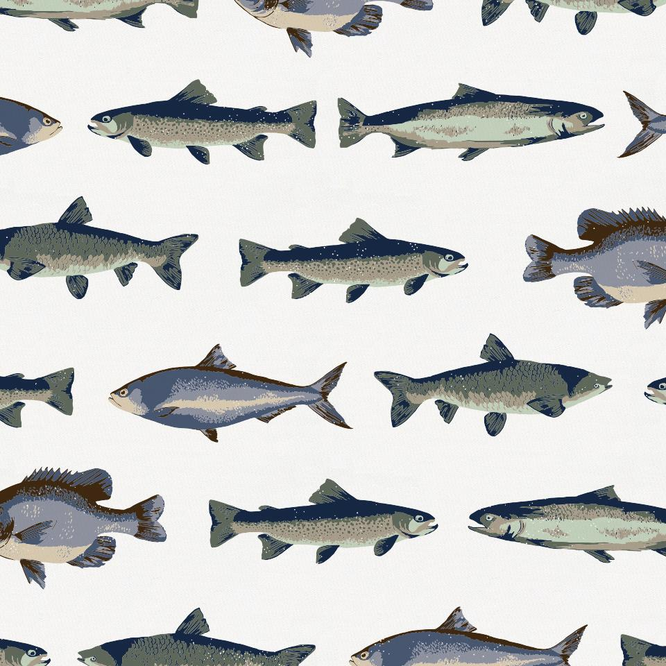 Product image for Navy and Seafoam Fish Drape Panel