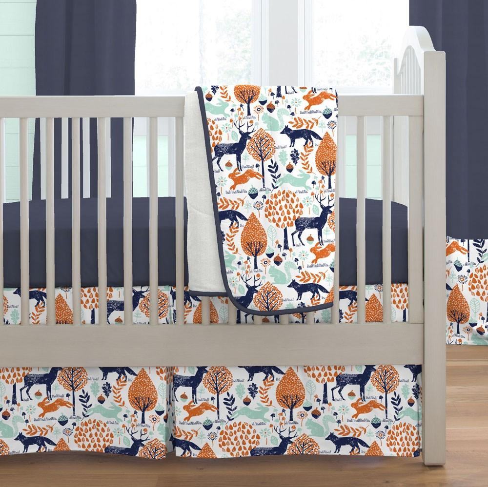 Product image for Navy and Orange Woodland Animals Crib Comforter with Piping