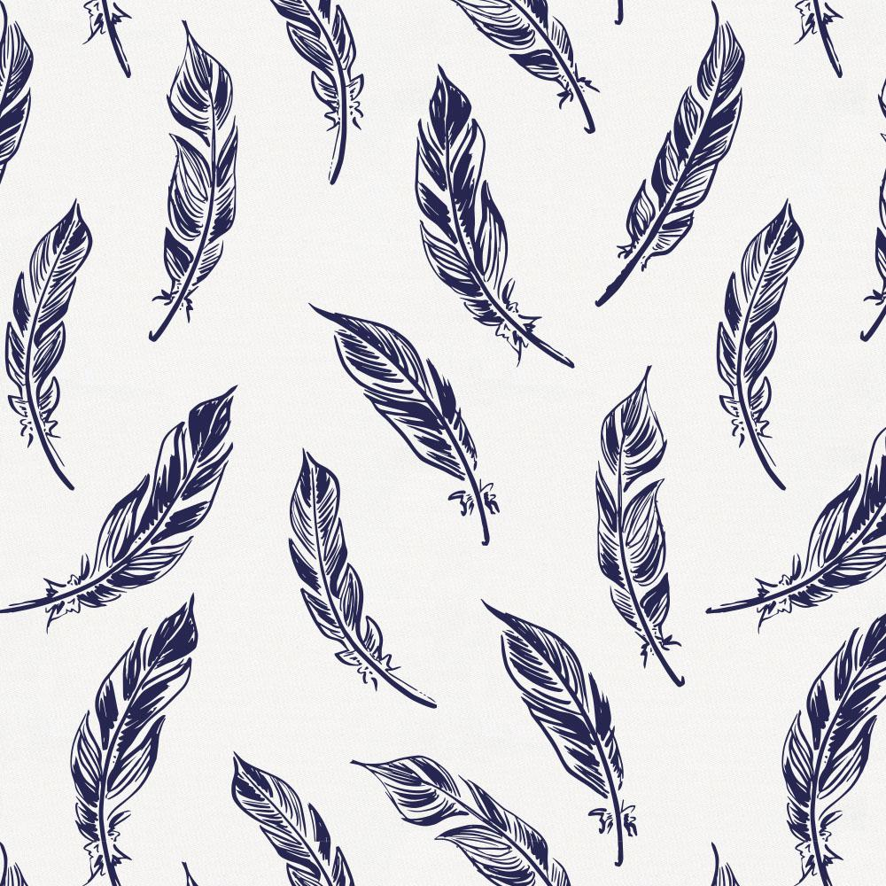 Product image for Navy Hand Drawn Feathers Drape Panel