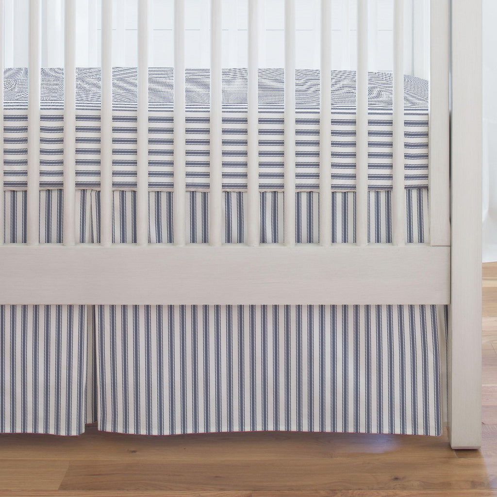 Product image for Windsor Navy Ticking Stripe Crib Skirt Single-Pleat