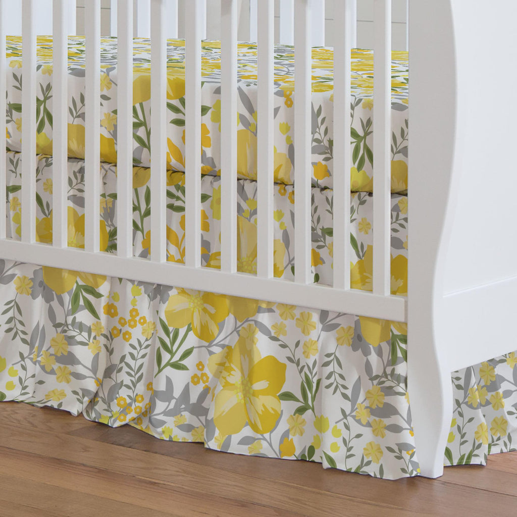 Product image for Yellow Floral Tropic Crib Skirt Gathered