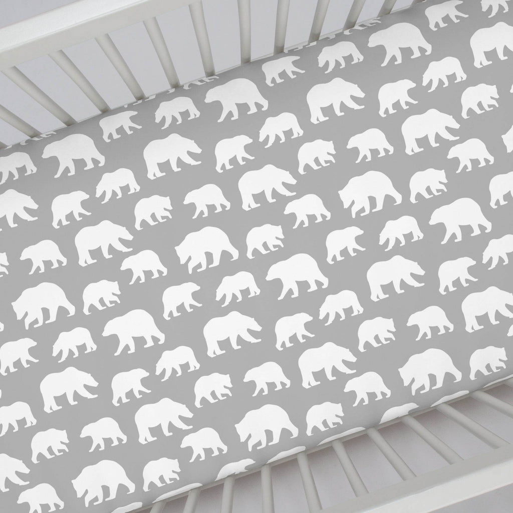 Product image for Silver Gray and White Bears Crib Sheet