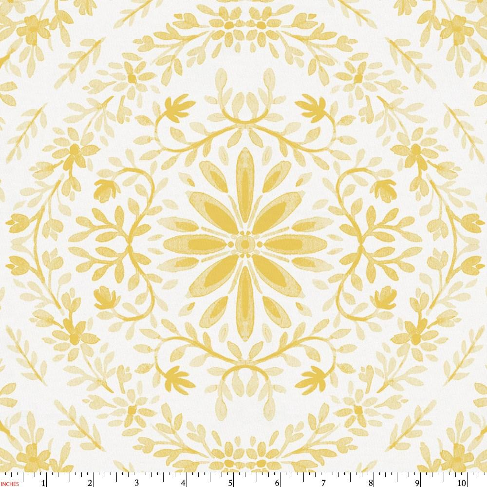 Product image for Yellow Floral Damask Fabric