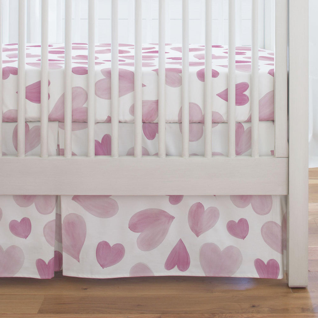 Product image for Pink Watercolor Hearts Crib Skirt Single-Pleat