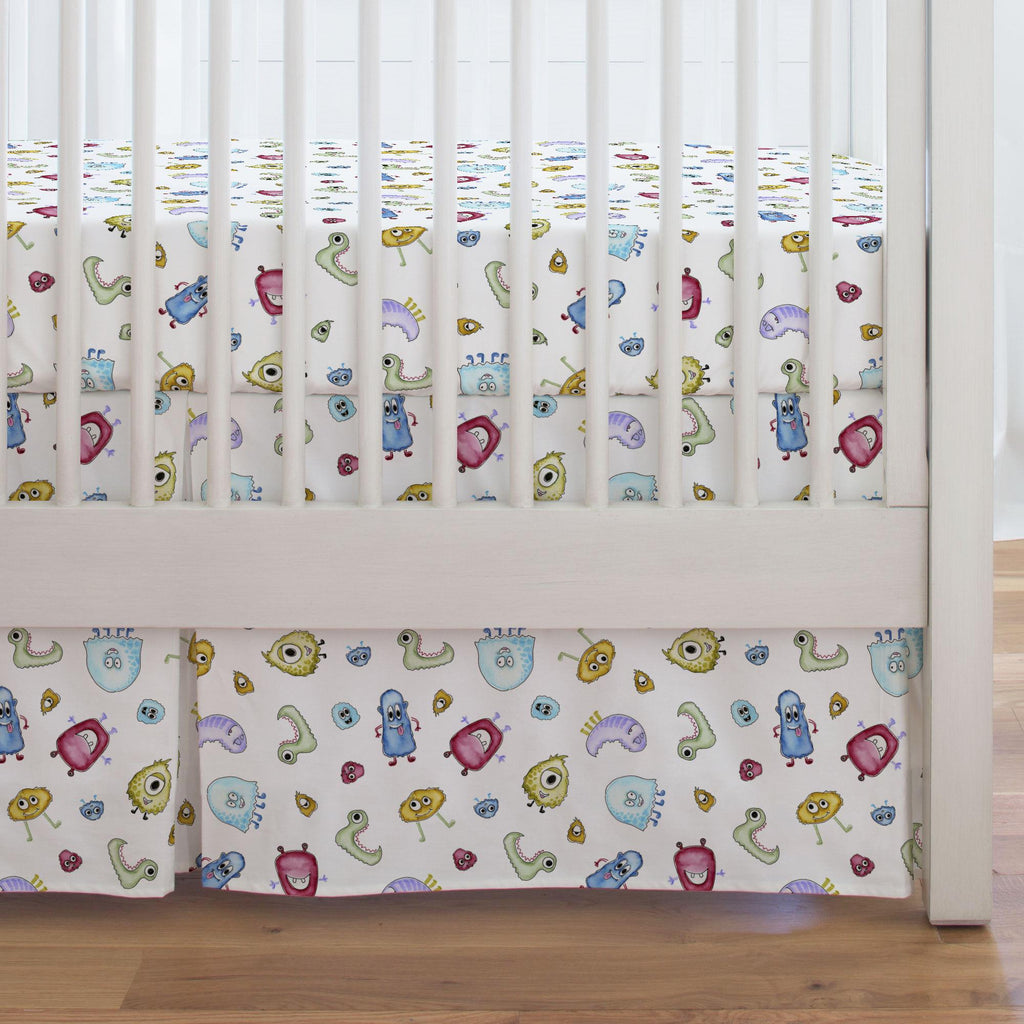 Product image for Watercolor Monsters Crib Skirt Single-Pleat