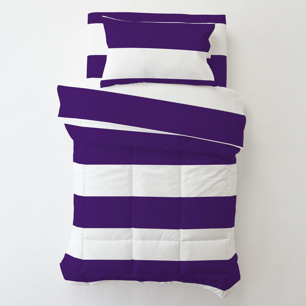 Product image for Purple Horizontal Stripe Toddler Pillow Case with Pillow Insert