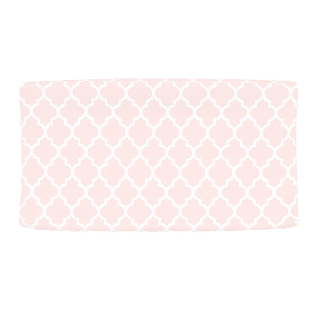 Product image for Blush Pink Hand Drawn Quatrefoil Changing Pad Cover
