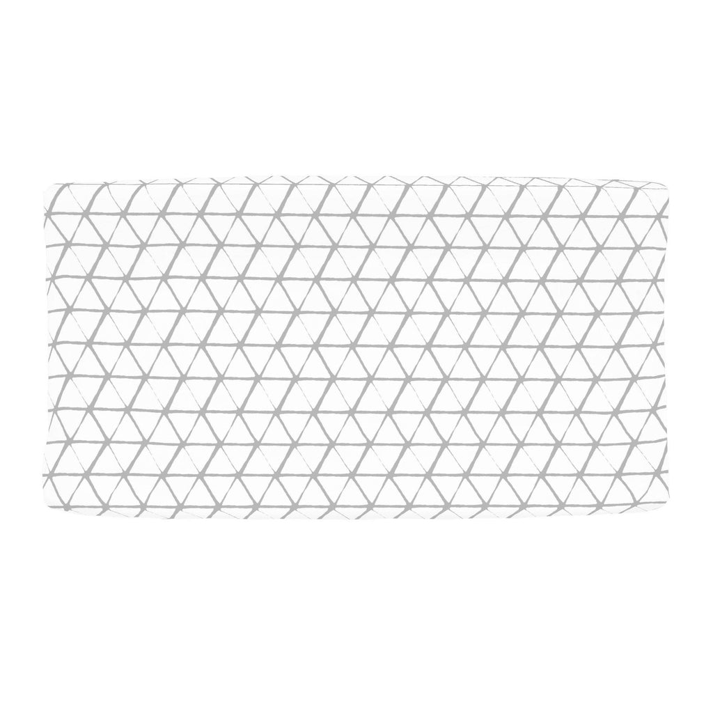 Product image for White and Silver Gray Aztec Triangles Changing Pad Cover