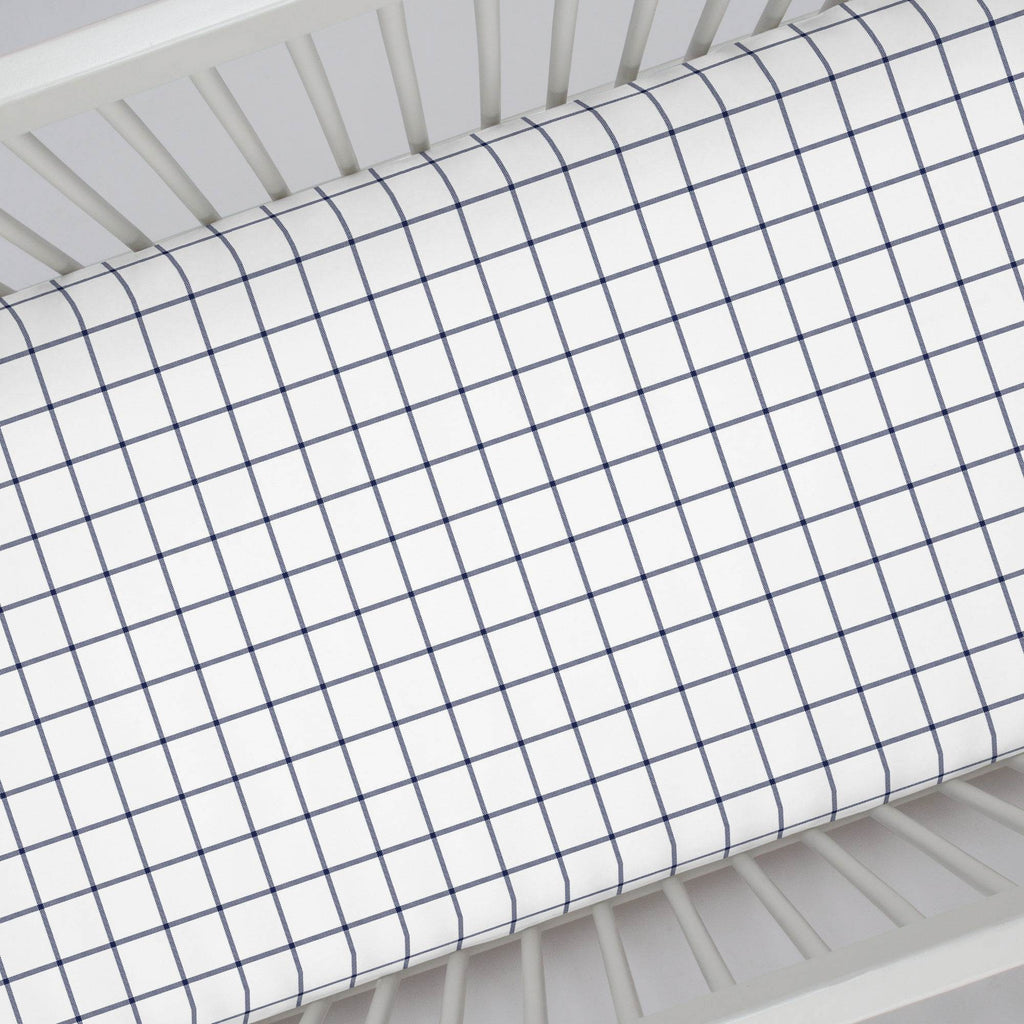 Product image for Navy Windowpane Crib Sheet