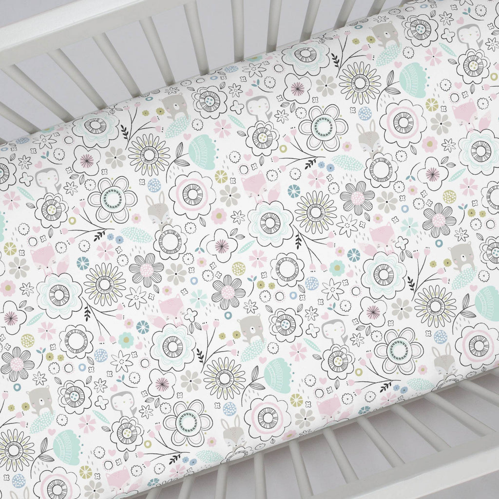 Product image for Pink Spring Doodles Crib Sheet