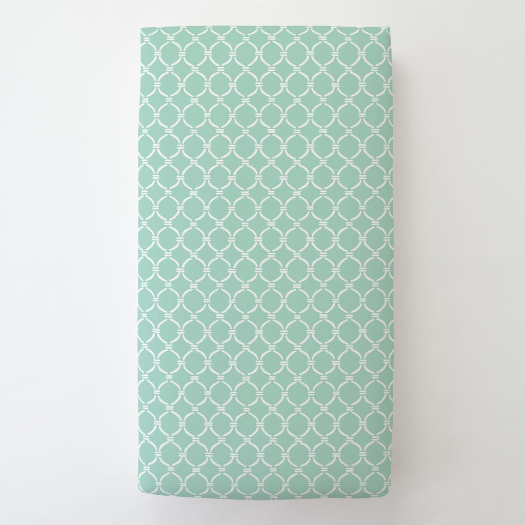 Product image for Mint and White Lattice Circles Toddler Sheet Bottom Fitted