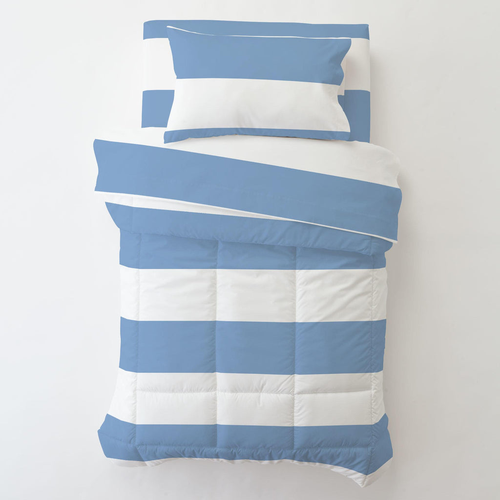 Product image for Sky Blue Horizontal Stripe Toddler Comforter