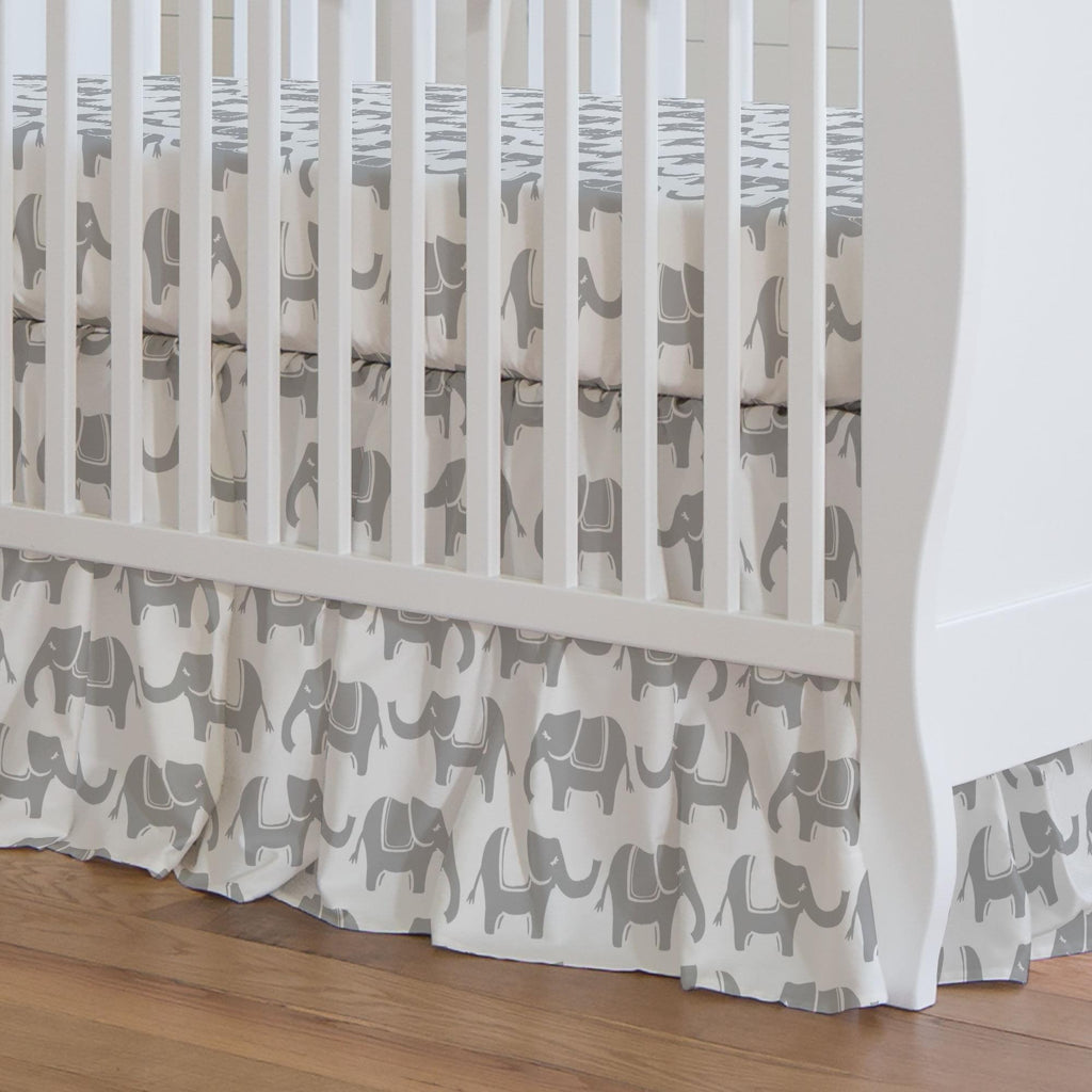Product image for Silver Gray Marching Elephants Crib Skirt Gathered