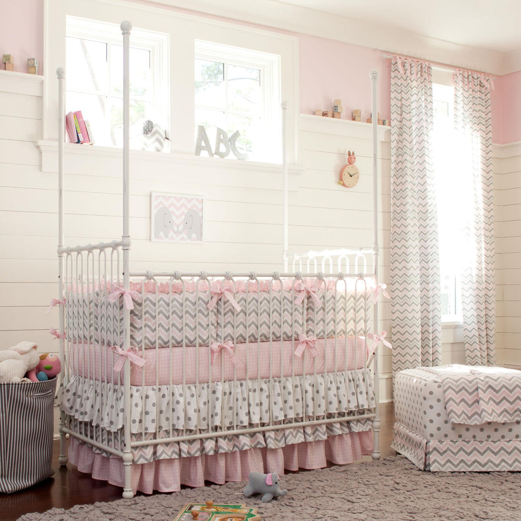 Product image for Pink and Gray Chevron Crib Skirt 3-Tiered