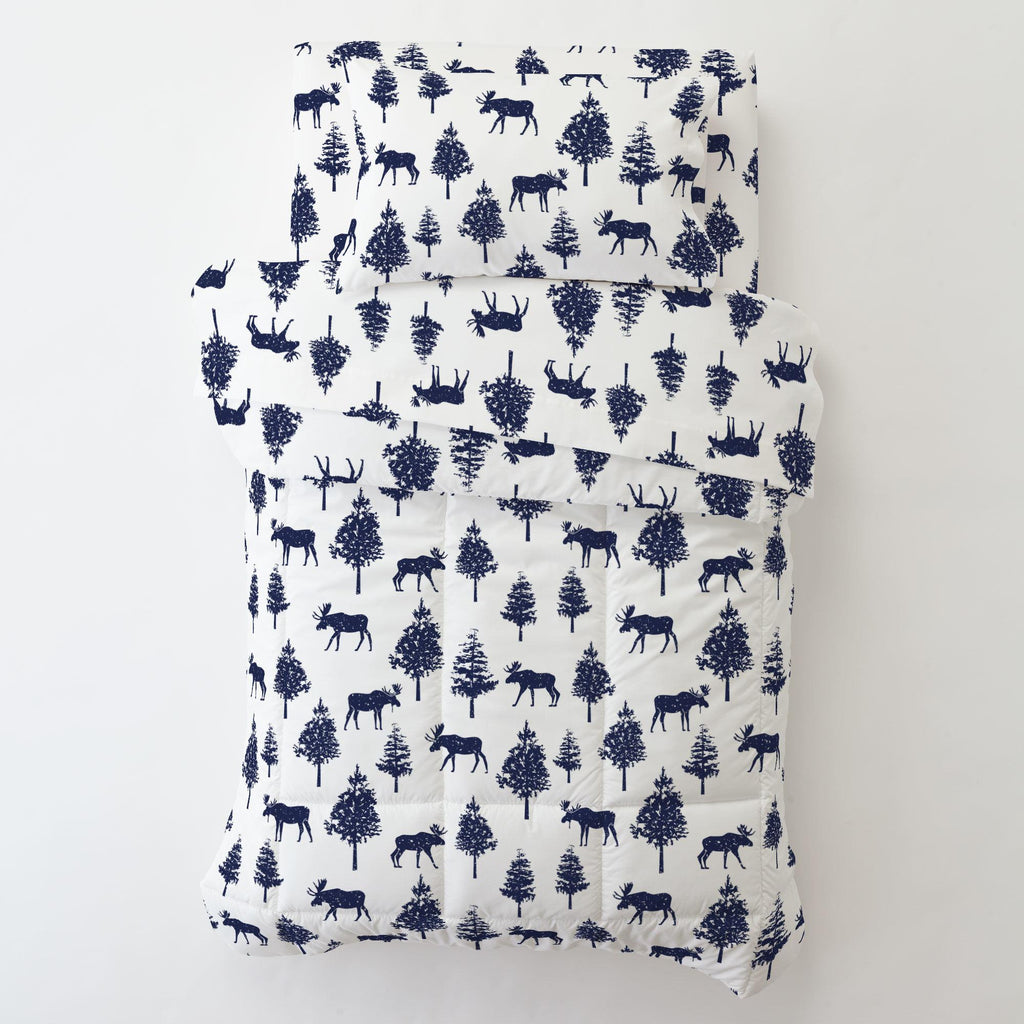 Product image for Navy Moose Toddler Pillow Case with Pillow Insert