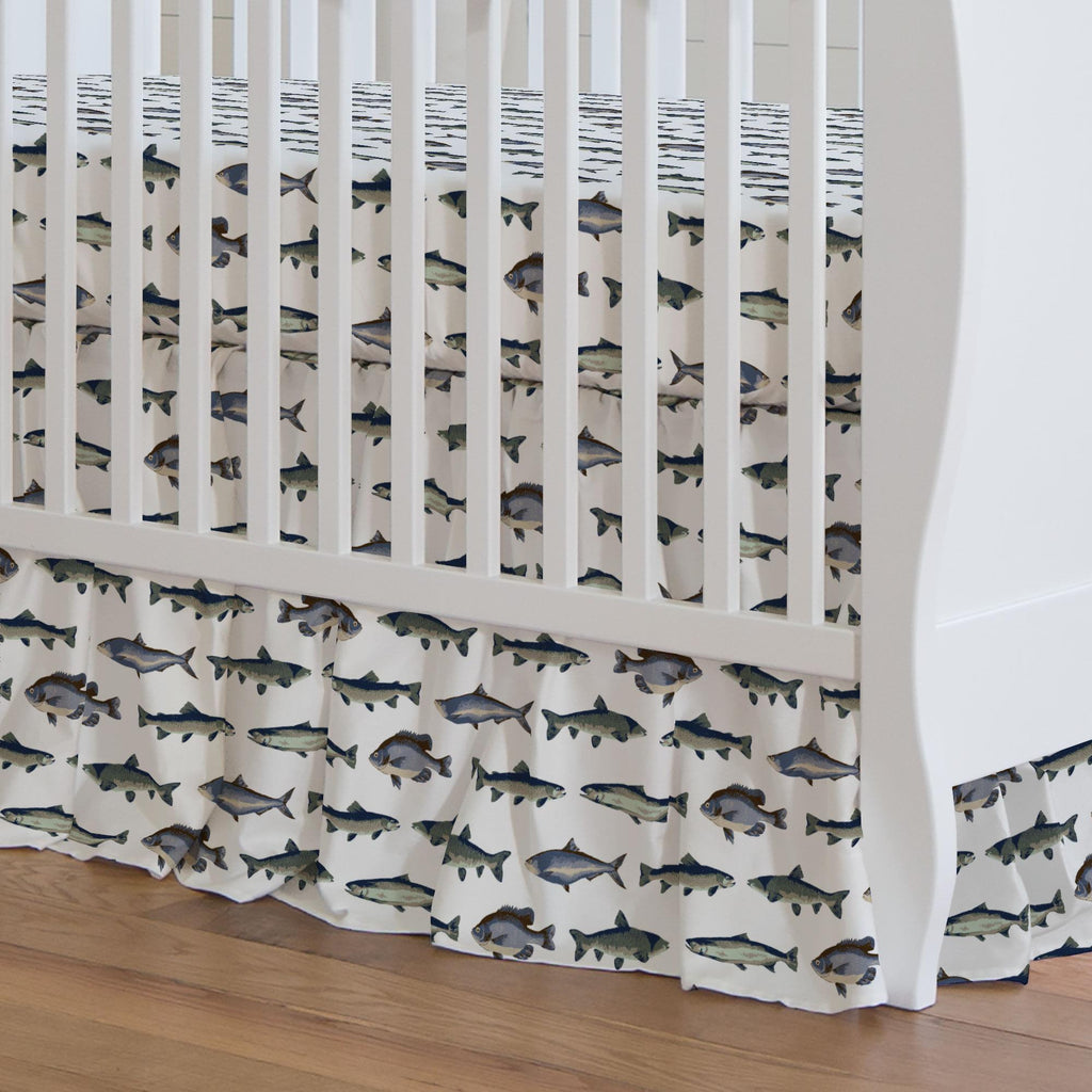 Product image for Navy and Seafoam Fish Crib Skirt Gathered