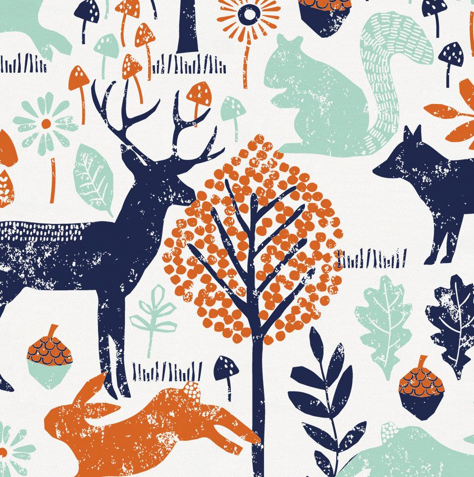 Product image for Navy and Orange Woodland Animals Window Valance