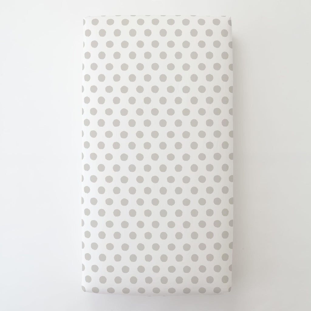 Product image for French Gray Brush Dots Toddler Sheet Bottom Fitted