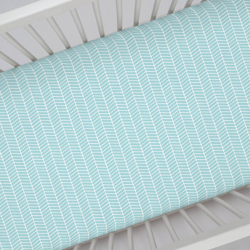 Product image for Seafoam Aqua Herringbone Crib Sheet