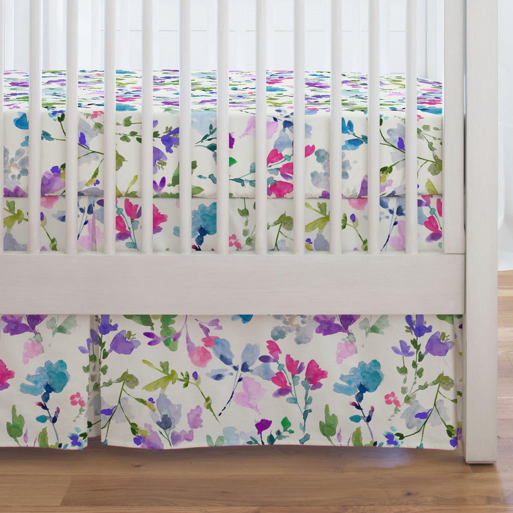 Product image for Bright Wildflower Crib Skirt Single-Pleat