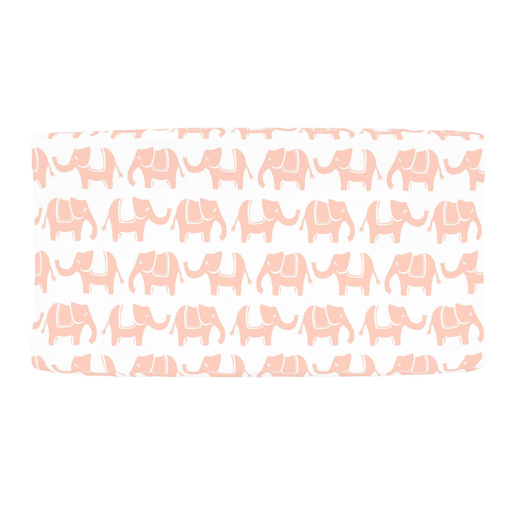 Product image for Peach Marching Elephants Changing Pad Cover
