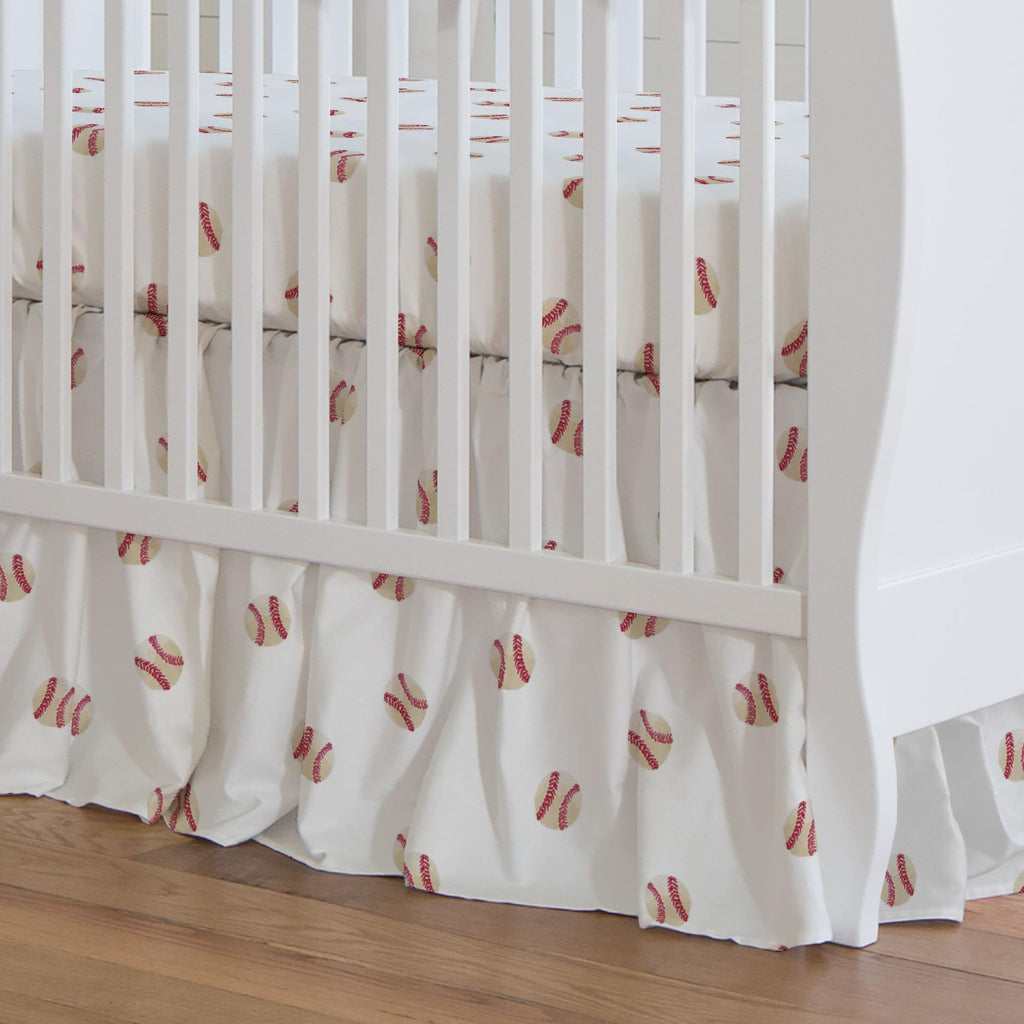 Product image for Watercolor Baseball Crib Skirt Gathered