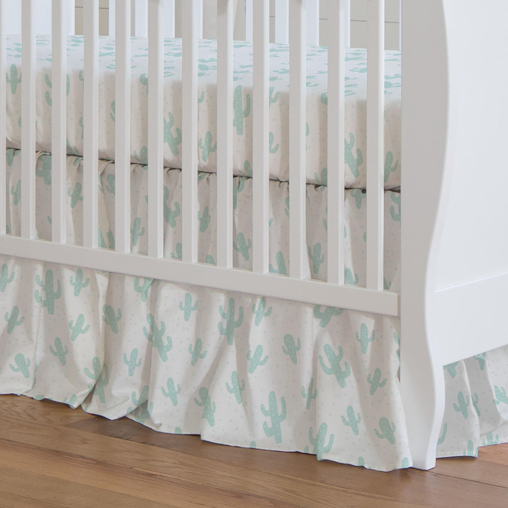 Product image for Icy Mint Cactus Crib Skirt Gathered