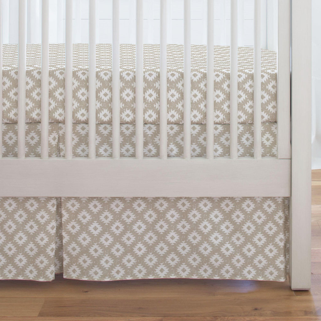 Product image for Taupe and White Aztec Crib Skirt Single-Pleat