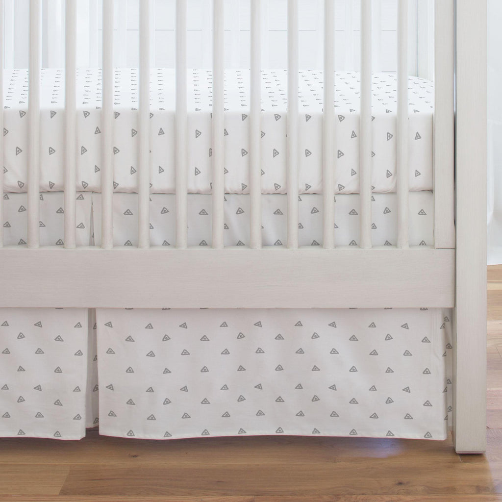 Product image for Silver Gray Triangle Dots Crib Skirt Single-Pleat