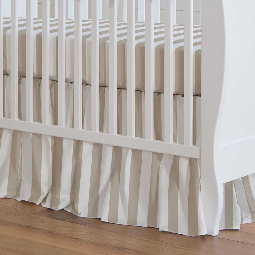 Product image for Taupe Stripe Crib Skirt Gathered
