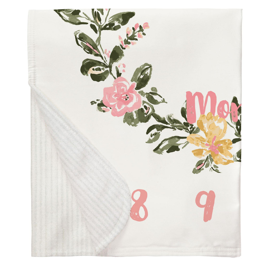 Product image for Coral Pink Garden Milestone Baby Blanket